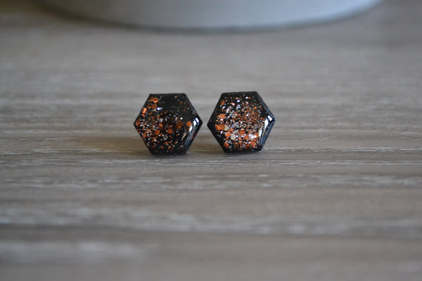 Black & Copper Glitter Hexagon Studs