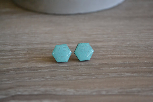 Coastal Waters Glitter Hexagon Studs