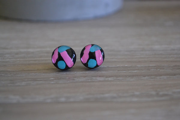 Black Tri Colour Studs