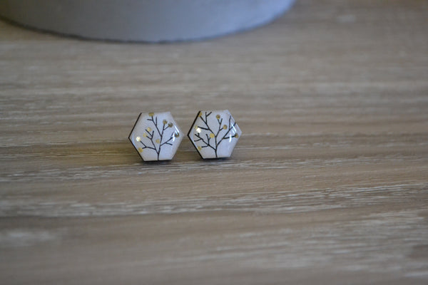White Tree Hexagon Studs