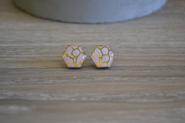 Pink & Gold Crackle Studs