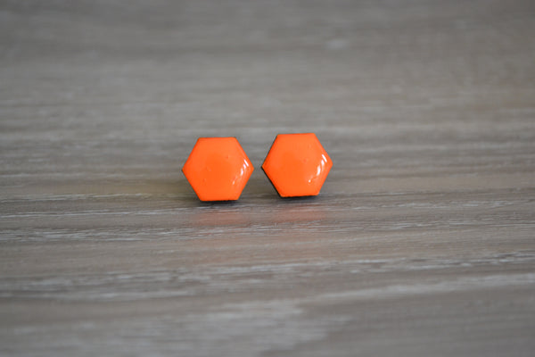 Bright Orange Hexagon Studs