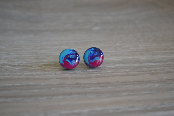 Tri Coloured Swirl Studs