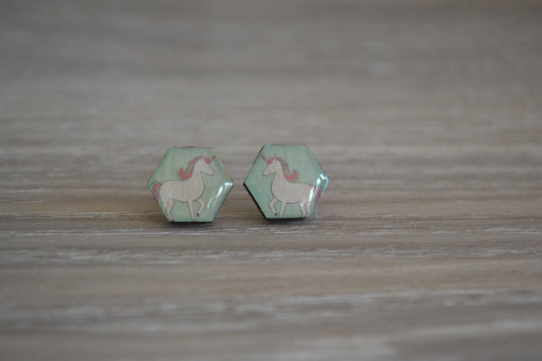 Green Unicorn Studs