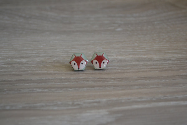 Foxy Hexagon Studs