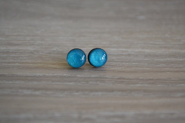Small Metallic Teal Studs