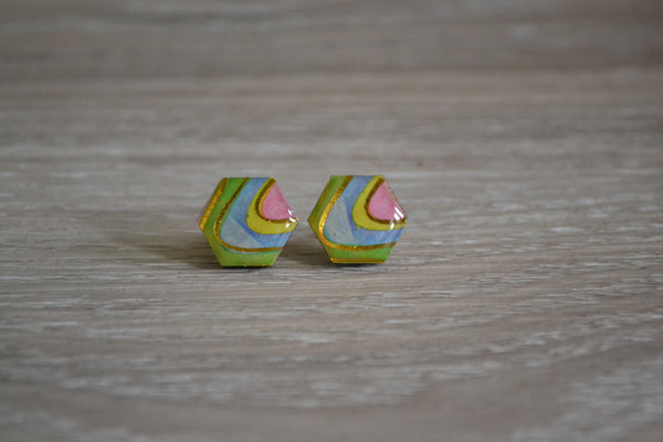 Rainbow Hexagon Studs