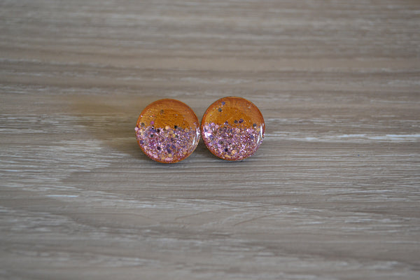 Gold Glitter Statement Studs