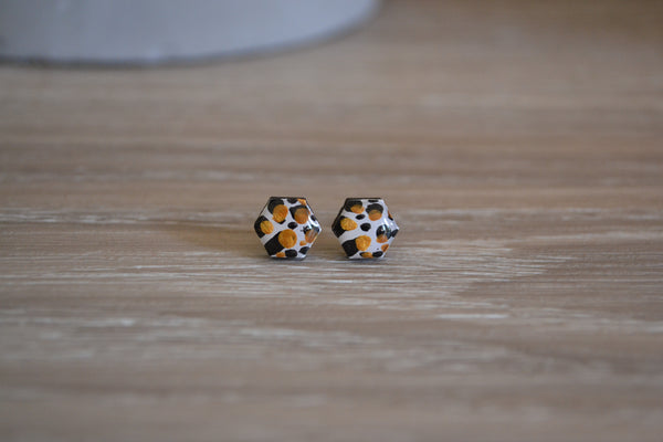 Tiny White, Gold & Black Studs