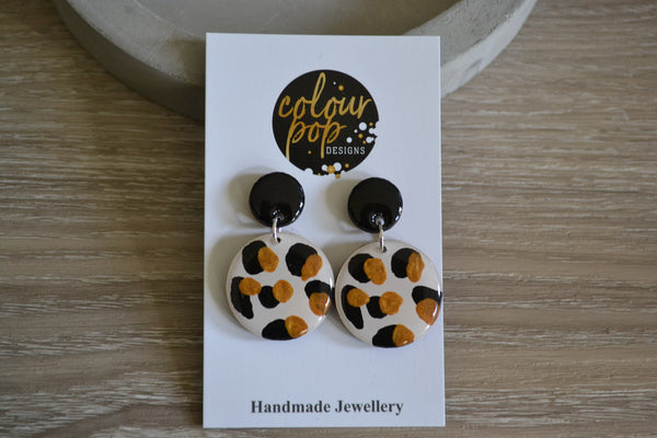 Gold Leopard Dangle Studs