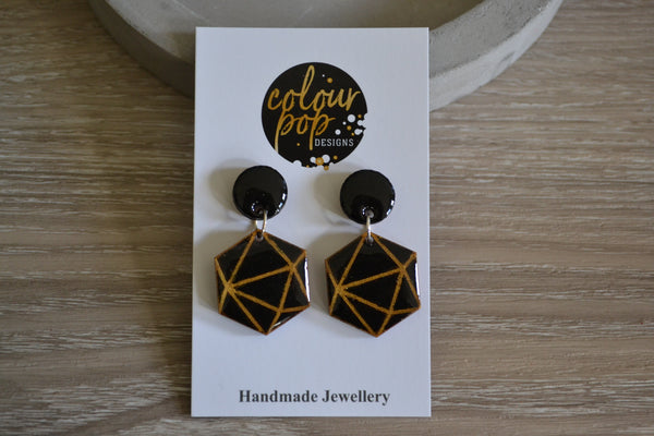 Black & Gold Geometric Dangle Studs