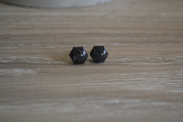 Tiny Black Sparkle Studs