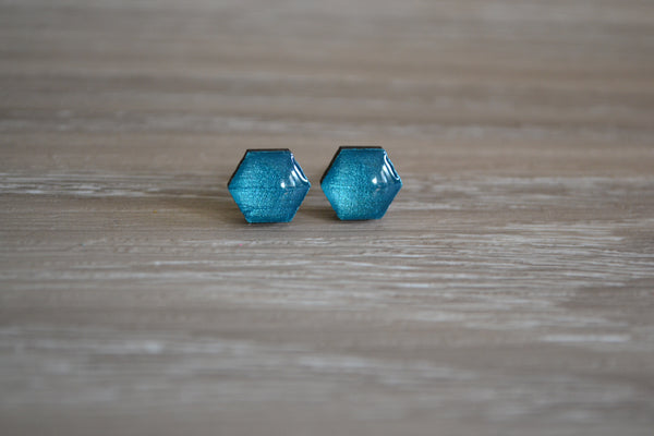 Tiny Metallic Teal Studs