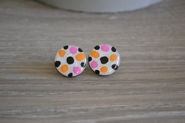 White Spotty Statement Studs