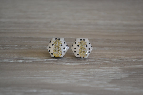 White Pineapple Hexagon Studs