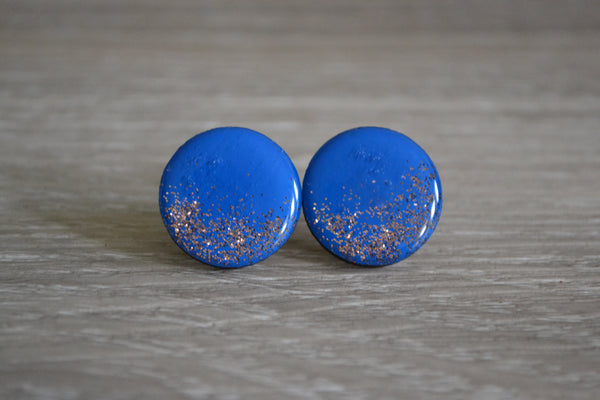 Blue Glitter Statement Studs