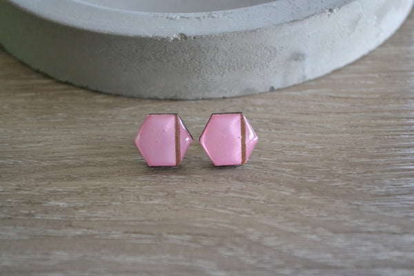 Pink and Gold Stripe Studs