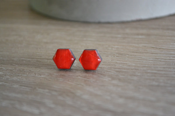 Small Red Hexagon Studs