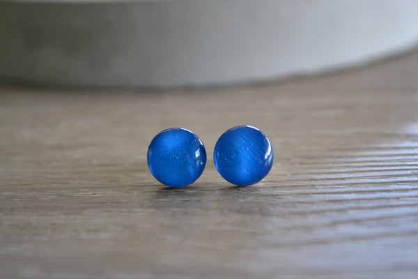 Small Bright Blue Round Studs