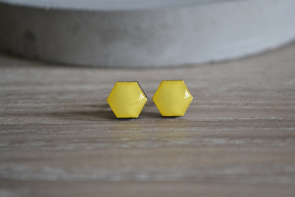 Small Yellow Hexagon Studs