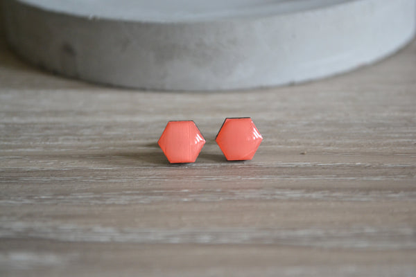 Small Peach Hexagon Studs
