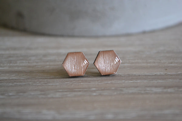 Small Rose Gold Hexagon Studs