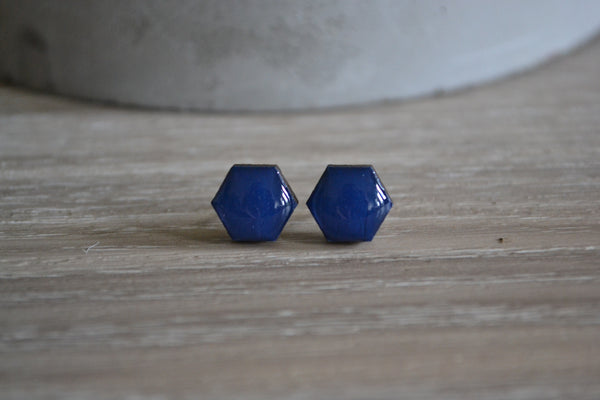 Small Navy Hexagon Studs
