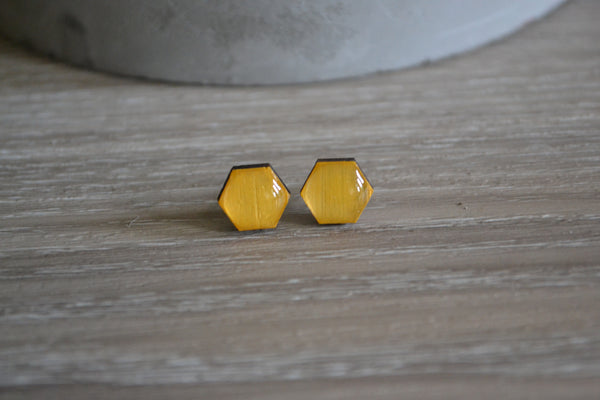 Small Mustard Hexagon Earrings
