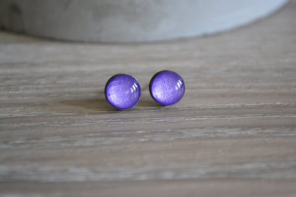 Small Metallic Purple Studs