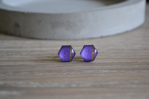 Small Metallic Purple & Gold Stripe Studs
