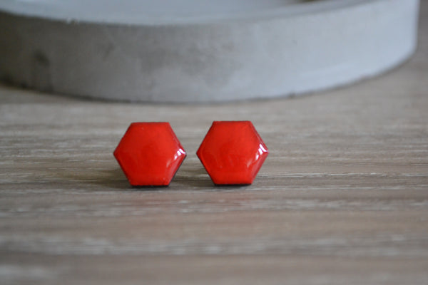 Bright Red Hexagon Studs