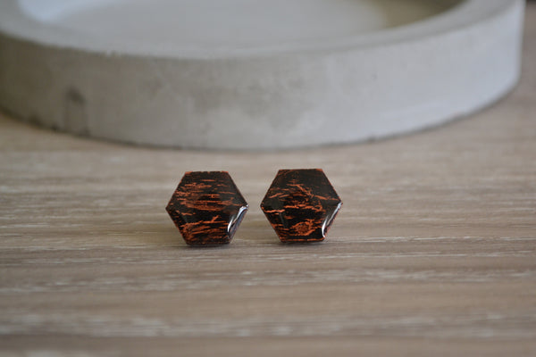 Black & Copper Crackle Studs