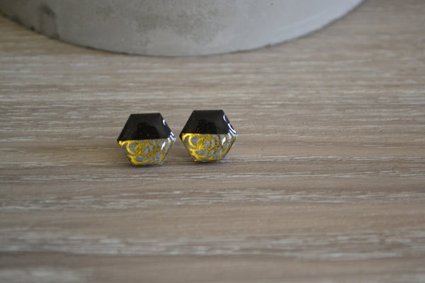 Black & Gold Rose Studs