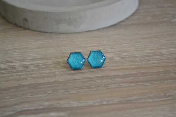 Small Metallic Teal Hexagon Studs