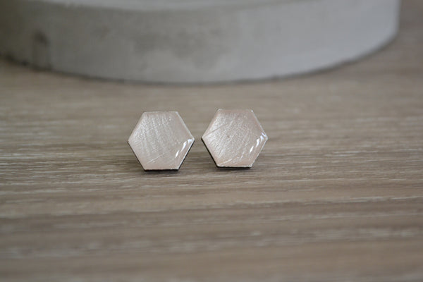 White Pearl Hexagon Studs