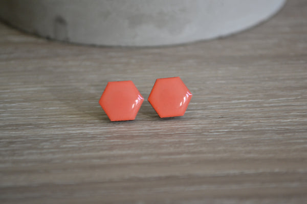 Peach Hexagon Studs