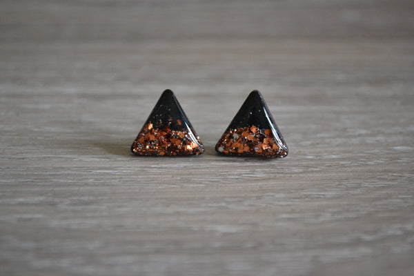 Triangle Black & Copper Glitter Studs