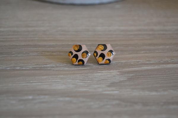 Gold Leopard Hexagon Studs