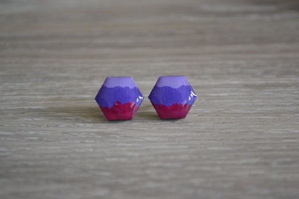 Purple Tri Coloured Studs