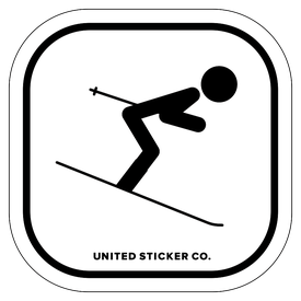 Badge_Stick figure_Sports & Recreation_Downhill Skiing 'Tuck'_Vinyl_Sticker
