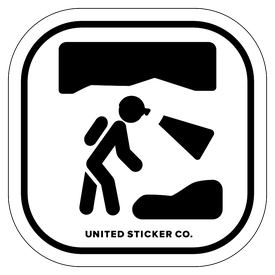 Badge_Stick figure_Sports & Recreation_Caving & Spelunking_Vinyl_Sticker