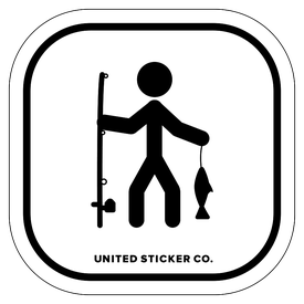 Badge_Stick figure_Sports & Recreation_Fishing_Vinyl_Sticker