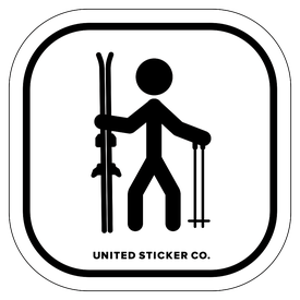 Badge_Stick figure_Sports & Recreation_Downhill Skiing 'Skis & Poles'_Vinyl_Sticker