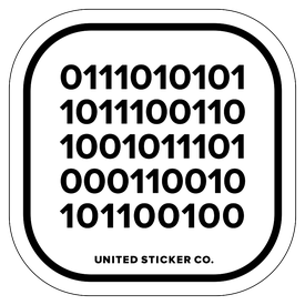 Badge_Numbers_Tech & Toys_Binary code: UNITED_Vinyl_Sticker