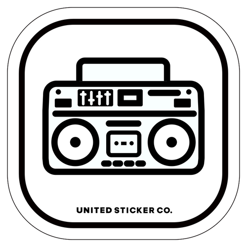 Boom Box Radio Icon Badge Sticker