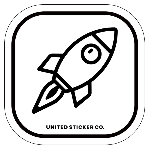 Rocket Ship Icon Badge Sticker