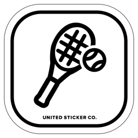 Badge_Icon_Sports & Recreation_Tennis Racket and Ball_Vinyl_Sticker
