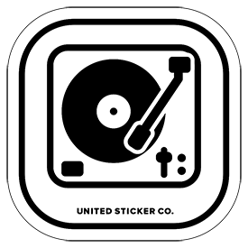 Turntable Record Player Icon Badge Sticker