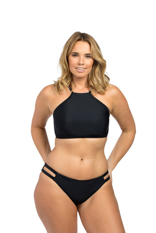 Black High Neck Bikini Top