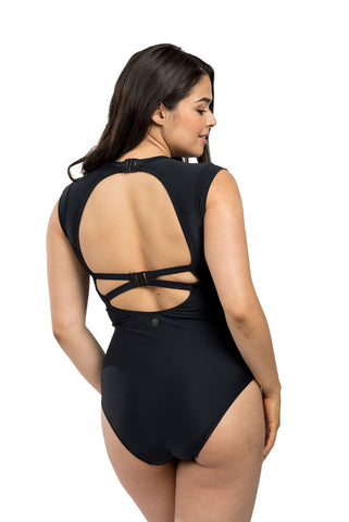 Black Cap Sleeve One Piece